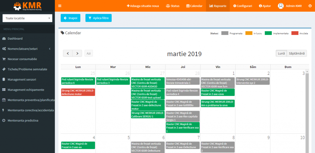 calendar kmr programare mentenante